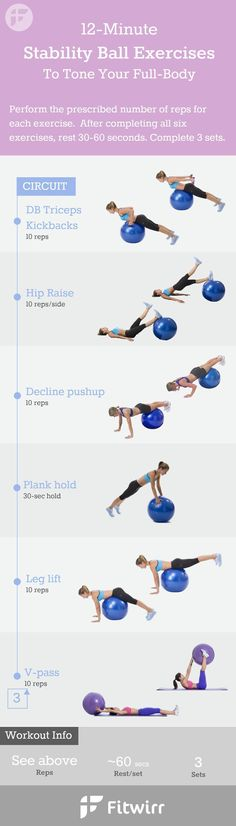12 Minute Stability Ball Exercises - Tone your abs, obliques, legs, butt and thighs with this stability ball workout #exerciseplan