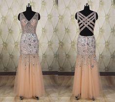 Sexy sheer rhinestone tulle long prom dress,criss-cross back mermaid evening dress,see through v-neck party dress,wedding guest dress