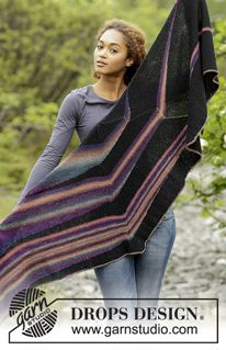 Free Pattern 2 types of Group A/Fingering yarn, knit separate on top down, short rows kurze Reihen Colours in the Dark / DROPS - Free knitting patterns by DROPS Design Vintage Crochet Patterns, Knitting Patterns Free, Free Pattern, Drops Design, Knitted Throws, Knitted Shawls, Knitting Increase, Crochet Design, Outlander Knitting