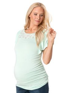 We Love Flutter Sleeves! Motherhood Maternity Short Sleeve Boat Neck Flutter Sleeve Maternity T Shirt