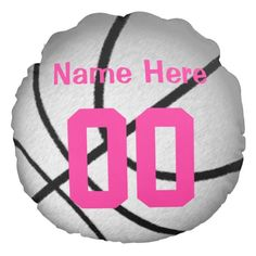 PERSONALIZED Basketball Pillows for Girls. Silver and Pink Personalized Basketball Team Gifts with each girls Jersey NUMBER and NAME. CLICK HERE: http://www.zazzle.com/silver_and_pink_personalized_basketball_team_gifts-256432256403812002?rf=238147997806552929*  Back of basketball pillow is cute. Personalized basketball gifts for girls, boys, men and women here: http://www.zazzle.com/littlelindapinda/gifts?cg=196808750908670951&rf=238147997806552929*  CALL Linda for Help: 239-949-9090