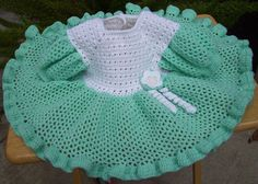 Mint Green & White with Flower Dress by craftyjane on Etsy