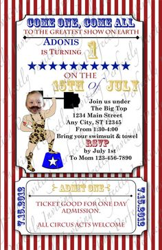 Strongman, carnival/ circus birthday invitations