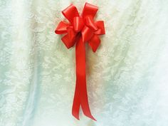 Red Satin Wedding/ Pew Bows set of 12 by creativelycarole on Etsy