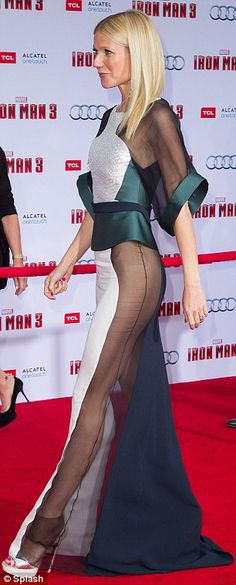 Gwyneth Paltrow shows flesh in a deceptively demure sheer panel gown at Iron Man 3 premiere | Mail Online.  4/24/13