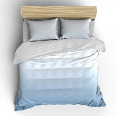 Gradient Blue Faded Watercolor Bedding- Duvet Cover or Comforter  -Your Choice of Colors
