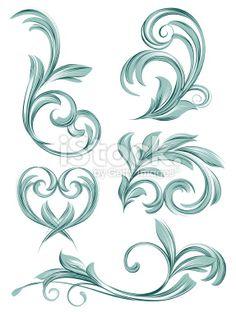 flora scroll design Royalty Free Stock Vector Art Illustration