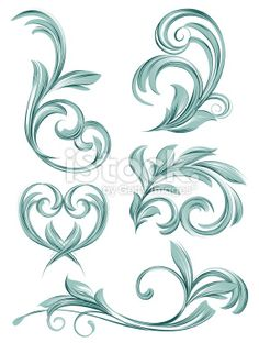 flora scroll design Royalty Free Stock Vector Art Illustration