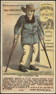 Why limp about & pain endure. When Gargling Oil is sure to cure? Merchant's Gargling Oil a liniment for man & beast. (front).