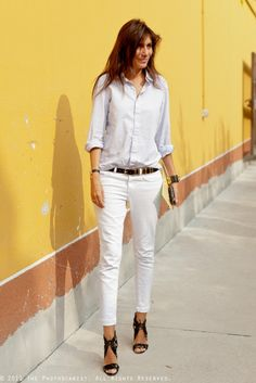 White Jeans Worn With Light Chambray Shirt And Black Accessories - The Perfect Tomboy Dressed Up Look For Summer In The City