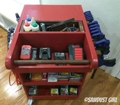 Rolling Tool Cart and Air Compressor Storage – Sawdust Girl® – Garage Organization DIY Woodworking Kit For Kids, Woodworking Ideas Table, Used Woodworking Machinery, Woodworking Basics, Woodworking Projects That Sell, Woodworking Plans, Learn Woodworking, Woodworking Apron, Armoire