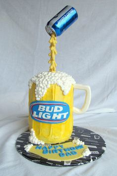 Bud Light Pouring Beer Can Cake