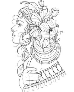 Tattoo Sketches, Tattoo Drawings, Drawing Sketches, Art Drawings, New School Tattoos, Neo Traditional Art, Beginner Tattoos, Girl Face Drawing, Desenho Tattoo