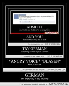 GERMAN THE ANGRY WAY TO SAY ANYTHING IT IS NOW A FACT