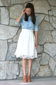 chambray shirt, white lace skirt, brown heels A Line Skirt Outfits, White Skirt Outfits, White Lace Skirt, White Skirts, Modest Outfits, A Line Skirts, Trendy Outfits, Midi Skirts, Work Outfits