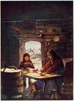 """Making """"Fladbröd""""—A Cottage Interior and I belive it may be Danish."""