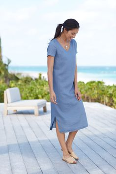 Pure Jill v-neck linen dress