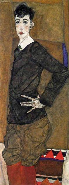 Художник - Эгон Шиле, картина «Портрет Эриха Ледерера»: Экспрессионизм, Портрет