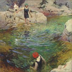 Dame Laura Knight, R. Bathing - signed 'Laura Knight' (lower right) - oil on canvas. English Artists, British Artists, Impressionist Art, Illustration, Western Art, Beautiful Paintings, Female Art, Art History, Landscape Paintings
