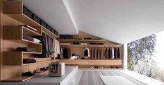 Closet and Wardrobe Designs. Modern luxurious open-space grey walk-in closet with stunning wall-mounted wooden wardrobe in cool design with nice grey carpet and beautiful outdoor view. Fancy Dream Home Interior Walk-in Closet Designs Floating Shelf Decor, White Floating Shelves, Floating Shelves Kitchen, Wooden Shelves, Walk In Closet Design, Wardrobe Design, Closet Designs, Walk In Closet Small, Best Ceiling Paint