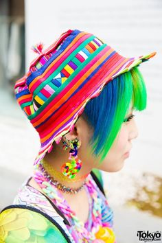 Rainbow hat, hair, earrings and choker necklaces