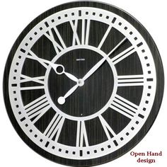 Rhythm Sterling Musical Large Wall Clock by Rhythm Clocks with an open hand design on an industrial style platform. Rhythm Clocks, Clock Shop, Hand Designs, Industrial Style, Musicals, Open Hands, Play 1, Modern, Numbers