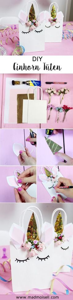 Making DIY Unicorn Gift Bags - Original Unicorn Party Deco You can use the unicorn bags for example. as a host super good for small gifts to use (children's birthday) or even a gift in it pack. Unicorn Birthday Parties, Birthday Gifts, Birthday Ideas, Unicorn Gift Bags, Diy Unicorn, Diy Party, Party Gifts, Small Gifts, Diy Gifts