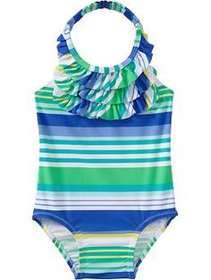 Striped Ruffle-Neck Swimsuits for Baby | Old Navy