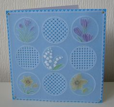 handdrawn Parchment Craft card beautiful butterfly crocuses and daffodil flowers