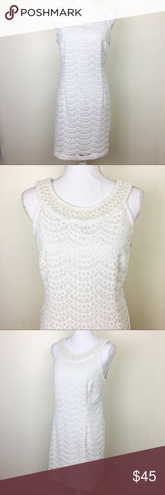 """Sandra Darren White Lace Dress with Pearl Neckline This sleeveless, white, lace dress from Sandra Darren is PERFECT for your wedding / rehearsal dinner. Features delicate pearl/beaded neckline. Perfect condition! Size: 10P. Chest: 18.5"""". Waist: 16.5"""". Length: 34"""". B1 Sandra Darren Dresses Midi"""