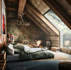 Master Bedrooms, Cabin Rooms or ... Cozy small room and attic view.