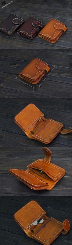 Handmade Men short leather wallet men vintage brown wine wallet for him