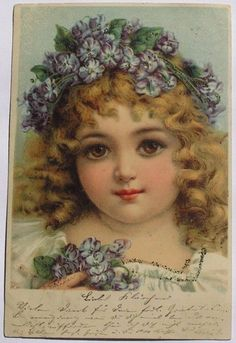 Gorgeous Brundage Girl Big Brown Eyes Violets in Her Curly Hair Early 1901 PC | eBay