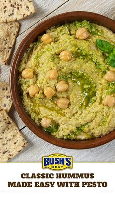 Bush's® Classic Hummus Made Easy with Pesto: If you need a simple—but irresistible—hummus recipe, you can't beat this favorite combination of Bush's Classic Hummus Made Easy, Bush's Garbanzo Beans and pesto. It's the perfect dip for crisp veggies or pita chips!