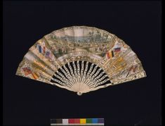 1851, United Kingdom - The Great Exhibition of 1851 (Fan) - Hand-coloured printed paper, pierced bone, inlaid with silver, printed in gilt
