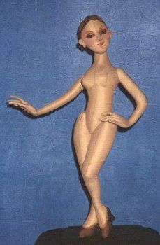 "Le Femme  This beautiful 20"" basic adult female body with shoes is designed to be made withwith a one-way stretch fabric such as robe velour or bucksuede. Several costumes available below.   Cloth doll Design by Arley Berryhill"