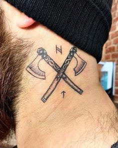 Like the Viking ships, the Viking axe holds an extremely important role in the Viking society. Indeed, the Viking axe has become the symbol presenting not only the Vikings but also their great spirit and long-gone culture. Norse Mythology Tattoo, Norse Tattoo, Viking Tattoo Symbols, Viking Ship Tattoo, Pagan Tattoo, Armor Tattoo, Viking Tattoos For Men, Tattoos For Guys, Viking Tattoo Sleeve