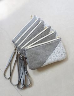Handmade Lace and Grey Bridesmaid Clutch by SheetaDesign