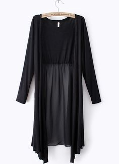 Black Long Sleeve Contrast Chiffon Long Outerwear - Sheinside.com