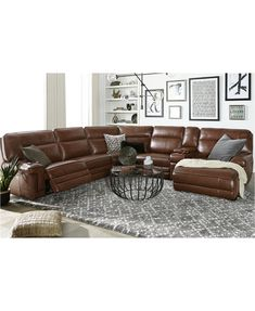 Leather Living Room Set with Chaise Luxury Myars Leather Power Reclining Sectional Collection Created for Macy S Leather Reclining Sectional, Sectional Sofa With Recliner, Leather Sectionals, Sectional Living Rooms, Leather Recliner, Reclining Sectional With Chaise, Recliner Chairs, Sleeper Sofas, Leather Sofa