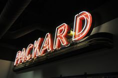 Packard dealer neon sign from the fifties.  Photography by David E. Nelson, 2009.