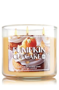 Pumpkin Cupcake 3-Wick Candle - Bath & Body Works ... Treat yourself to a freshly baked pumpkin cupcake covered in rich buttercream frosting