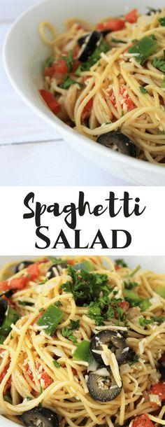 Spaghetti Salad (use spaghetti quash instead of pasta) Lunch Recipes, Pasta Recipes, Salad Recipes, Vegetarian Recipes, Healthy Recipes, Noodle Recipes, Potato Recipes, Delicious Recipes, Yummy Food