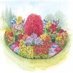 THREE SEASON GARDEN PLAN;    Season Garden designed to fit a space 15' wide x 6' deep, full sun zones 4-9, begins blooming in the spring, continues throughout the summer and into the fall. It features ten old-fashioned favorites to add beauty to your landscape for many years.