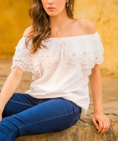 Look what I found on #zulily! White Crochet Off-Shoulder Top by NOVICA #zulilyfinds