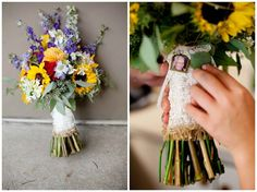 sunflowers with burlap and lace | colorful sunflower bouquet with burlap and antique lace