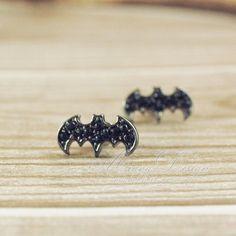 Cute Bat Earrings, Tiny Bat Stud Earrings In Black, Cute Earring Studs ,.,cheap fashion earring stud jewelry shop at Costwe.com