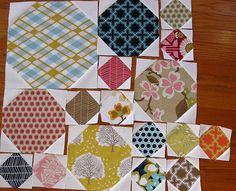 sewing, quilting, snowball blocks