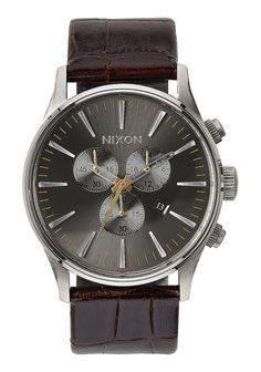 Nixon Mens Watch Sentry Chrono Leather