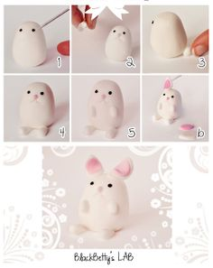 How to make an Easter Bunny Rabbit in Clay or Fondant Polymer Clay Figures, Fimo Clay, Polymer Clay Projects, Polymer Clay Charms, Polymer Clay Art, Clay Crafts, Fondant Animals, Clay Animals, Fimo Kawaii